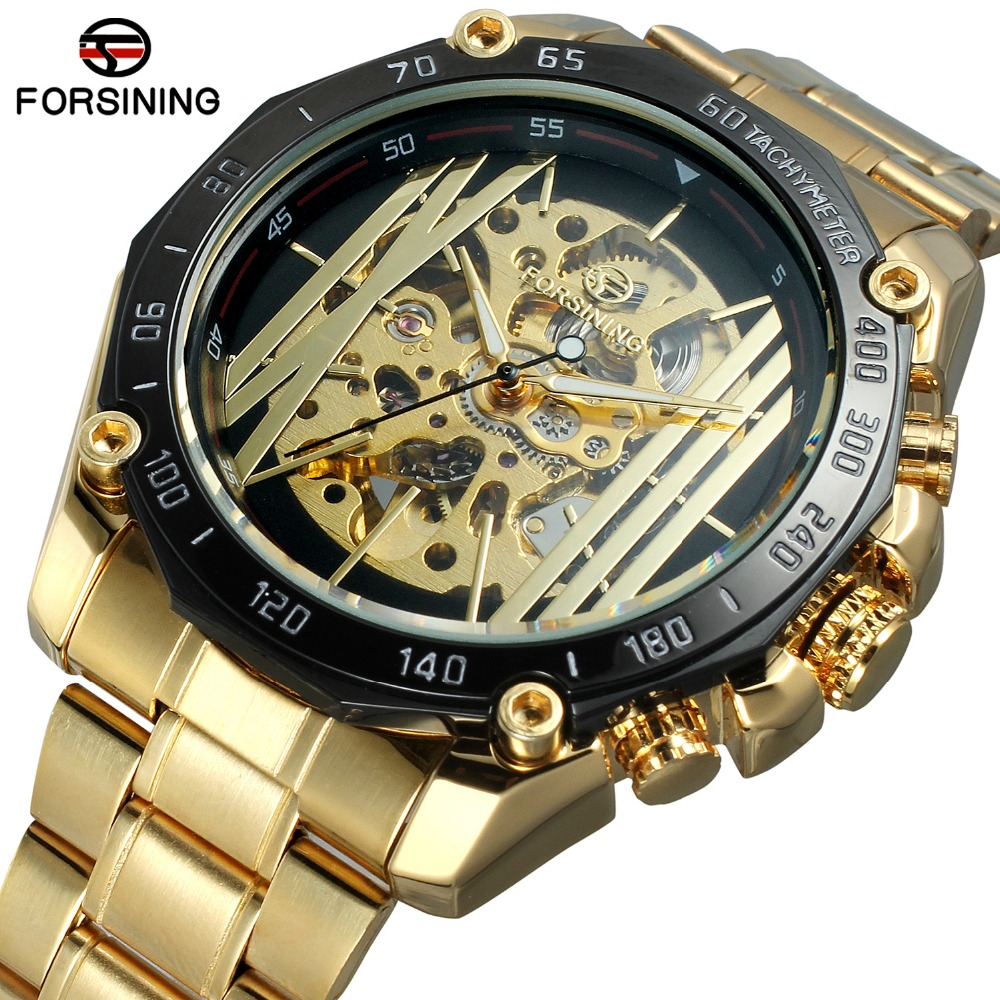 Men Watch Automatic Gold Army Military Skeleton Male Wrist Watches Steel Strap Mechanical Hour Luxury Brand Top Forsining forsining gold hollow automatic mechanical watches men luxury brand leather strap casual vintage skeleton watch clock relogio