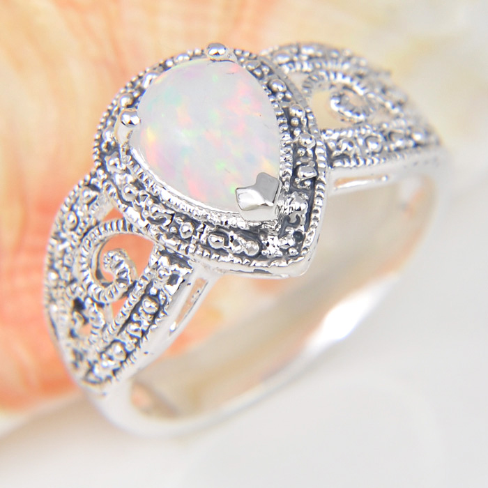 Promotion Holiday Gift Shine Drop White Fire Opal Siver Plated Wedding Rings Russia USA Holiday Gift Rings Australia Rings