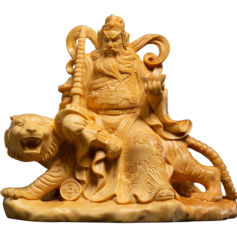 Folk Art lucky God People god of wealth Carved China Yellow Boxwood Room wood carved Home