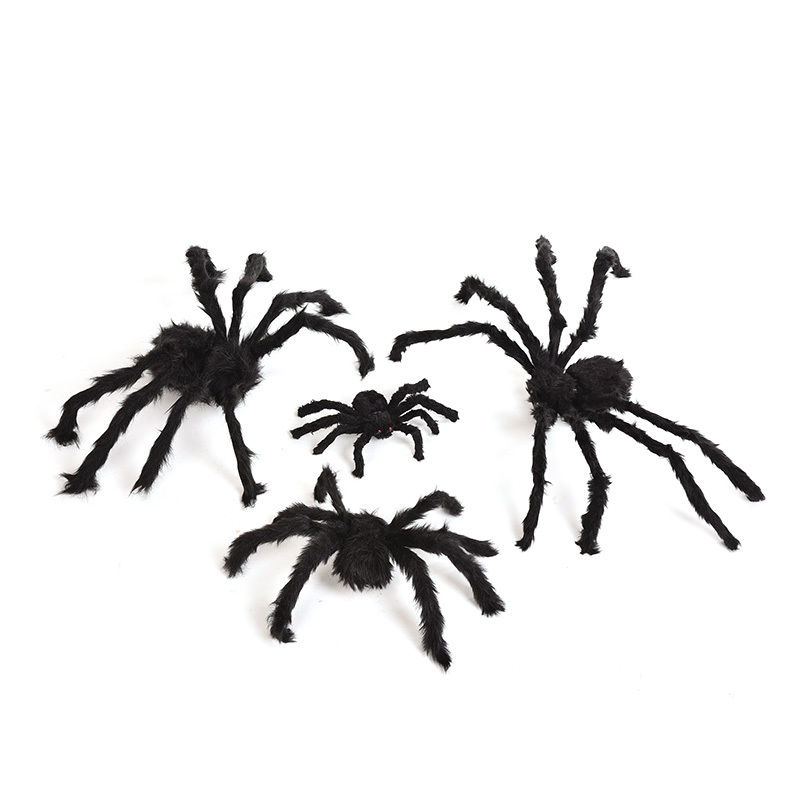 2018 New 1 PC Fake Black Furry Spider Prank Bar Moving Ornament Halloween Props April Fools Jokes Toys Party Game Gift image