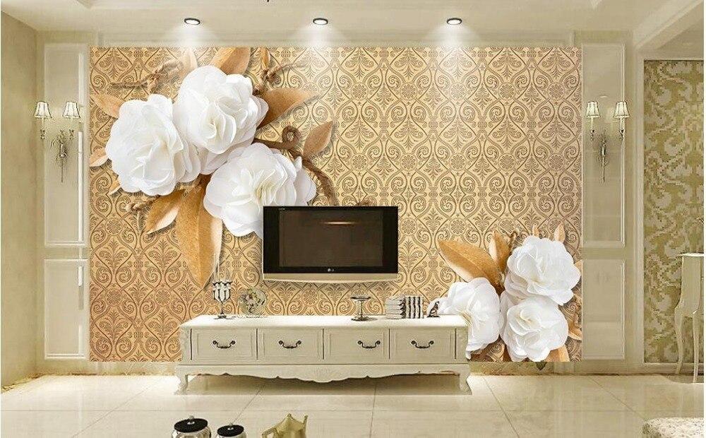 custom 3d wallpaper European style simple flowers modern living room ...