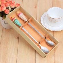 2 stücke Eis Design Kaffeelöffel Teelöffel Würze Zucker Mess Nette Stil Set für Hochzeit Childen Geschenk