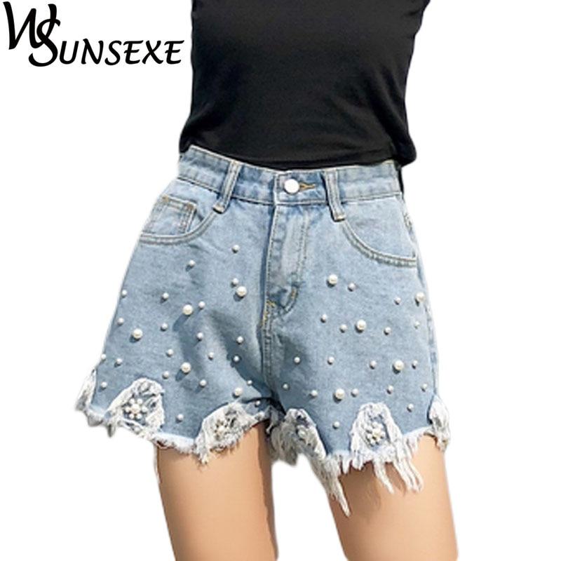 Beading Pearl Denim Shorts Female New High Waist Patchwork Tassel Sexy Mini Trousers 2018 Summer Fashion Casual Women Clothing