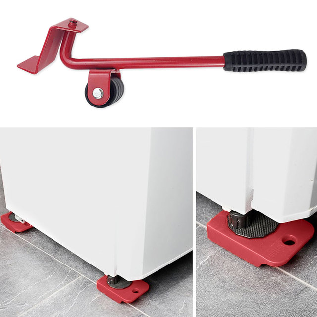 5 pièces/ensemble de Transport mobile de meubles 4 rouleau de moteur + 1 barre de roue 4