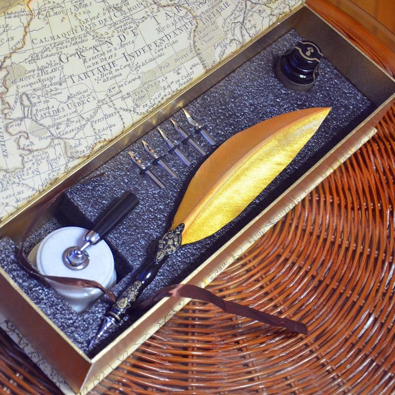 Stylo plume de plume de gravure rétro couleur or avec porte-stylo 5 plumes 1 Signature d'encre calligraphie cadeau stylo plume