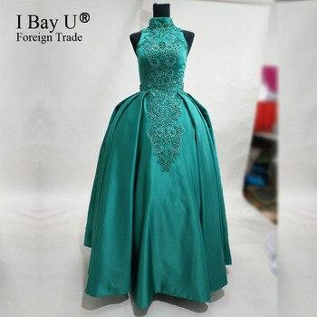 100% реальные фотографии, жемчужные бисероплетенные кружевные платья для выпускного вечера с высокой горловиной, бальное платье темно зелен
