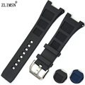 Watchbands Black Blue Diver Silicone Rubber Watch Bands Strap With Buckle For Iwcwatch Strap Buckle 30mm Stainless Steel Buckle