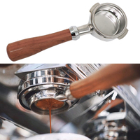Coffee Bottomless Portafilter Group head 58MM Coffee Machine Solid Wooden Handle 304 Stainless Steel Coffee Tools Wholesale