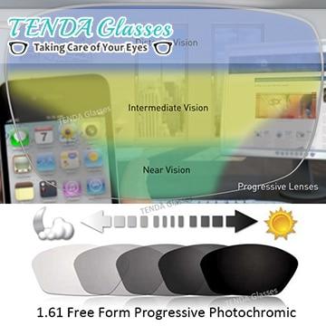 1 61 Multifocal Free Form Progressive Photochromic Lenses Gray Sunglasses Lens For Prescription Glasses