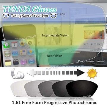 1,61 Multifocal свободной формы прогрессивные фотохромные линзы серые солнцезащитные очки линзы для рецептурных очков