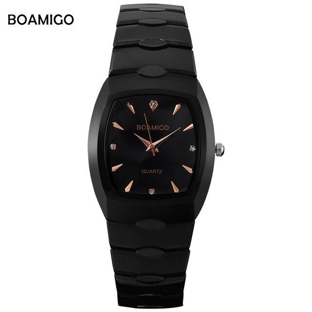 Homens relógio de quartzo de aço preto relógios de pulso casual vestido de negócios relógios masculino BOAMIGO Relogio masculino de luxo da marca à prova d' água