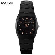 Hombres reloj de cuarzo negro relojes de pulsera de acero ocasional BOAMIGO de negocios vestido relojes hombres marca de lujo impermeable Relogio masculino