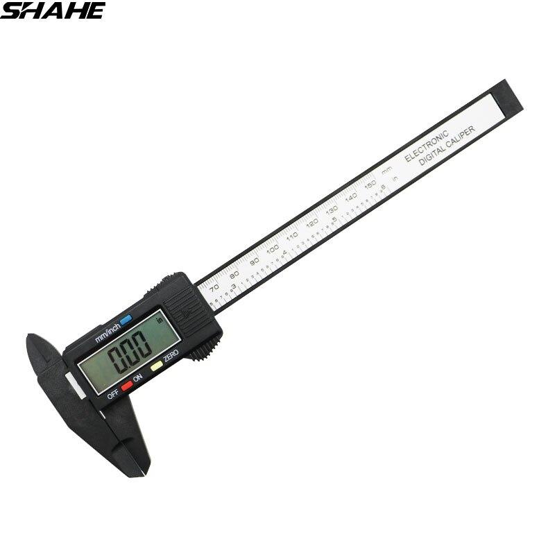 SHAHE 150 milímetros 6 polegada LCD Eletrônico Digital De Fibra De Carbono Composite Vernier Compassos Governante Micrômetro Paquímetro Digital