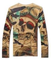3D Skull Printing High End Men T Shirt Long Sleeve V Neck 2014 Fashion Fashion Autumn