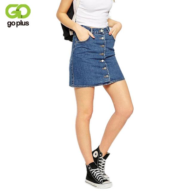 Goplus 2017 verão estilo de moda de nova saia jeans curta mulheres faldas midi denim saias tutu de cintura alta galpões da american apparel