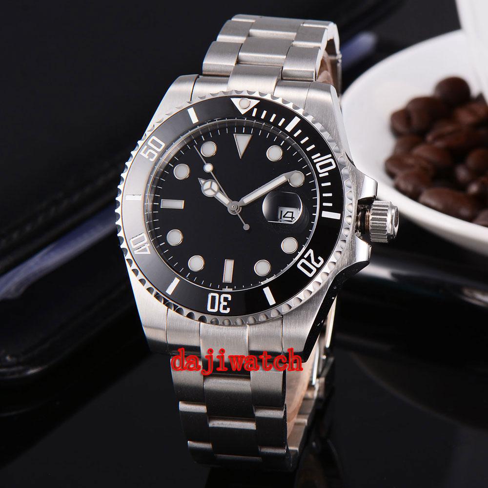 parnis 43mm black dial stainless steel case Sapphire glass calendar mechanical automatic watch men цена 2017
