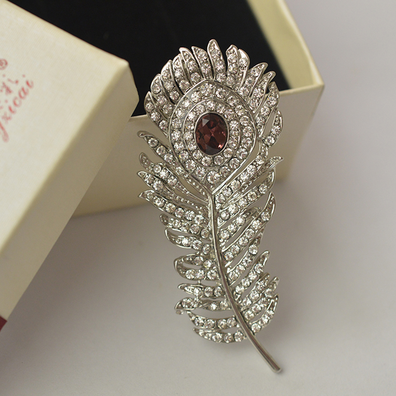 MZC Vintage Silver Peacock Feather prossid Rhinestone kristallloomad - Mood ehteid - Foto 2