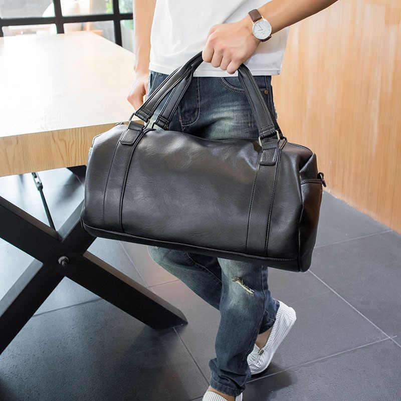 Топ классическая мягкая кожаная Спортивная мужская сумка Цилиндрические сумки для мужчин через плечо дорожная сумка для багажа большой черный XA579WD