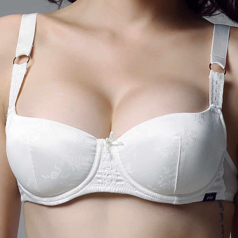 Luxury Bow Silk White Bras For Sexy Young Lady Woman -3779