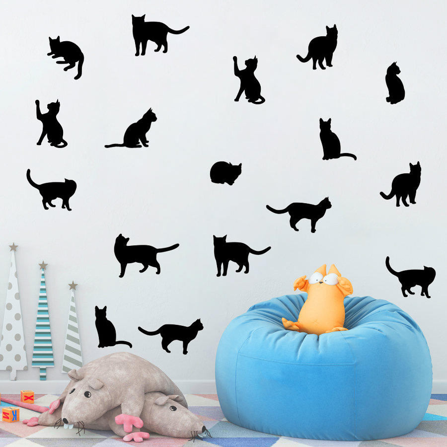 33 Cats Wall Stickers Home Interior Decor Kids Room Wall Decals Vinyl Kitty Decal Removable DIY Black Art Sticker Cute Cat S452
