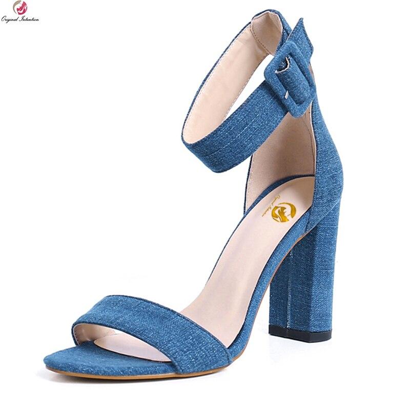 602e6727 Nuevo Estilo Tacones Del Intención Sexy Hebilla Mujeres Mujer Original Pie  Zapatos Dedo Abierto La Alta Blue Oi0306 Cuadrado Elegante 4 Correa ...