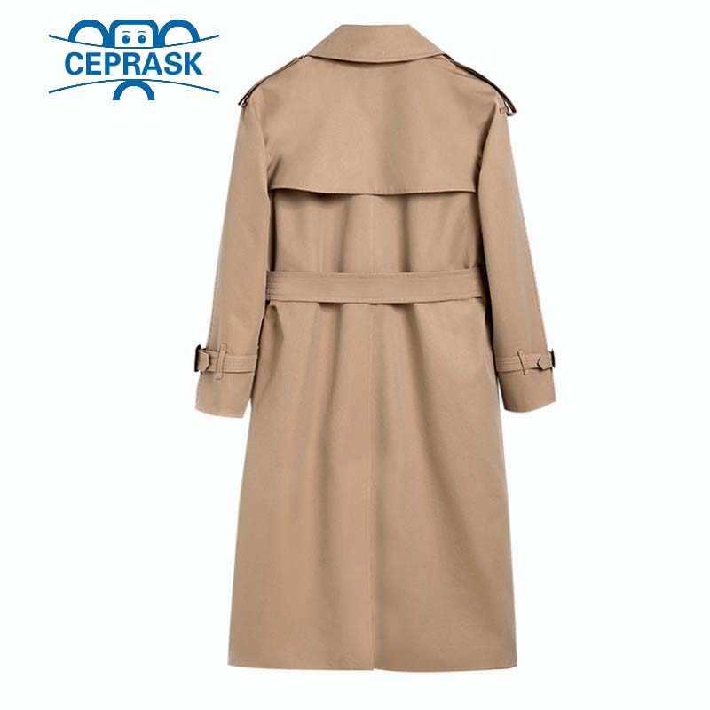 2018 İlkbahar Sonbahar Rahat trençkot kadın Marka Artı Boyutu Breasted Avrupa Uzun Çift Rüzgarlık Giyim Mont Sıcak satış