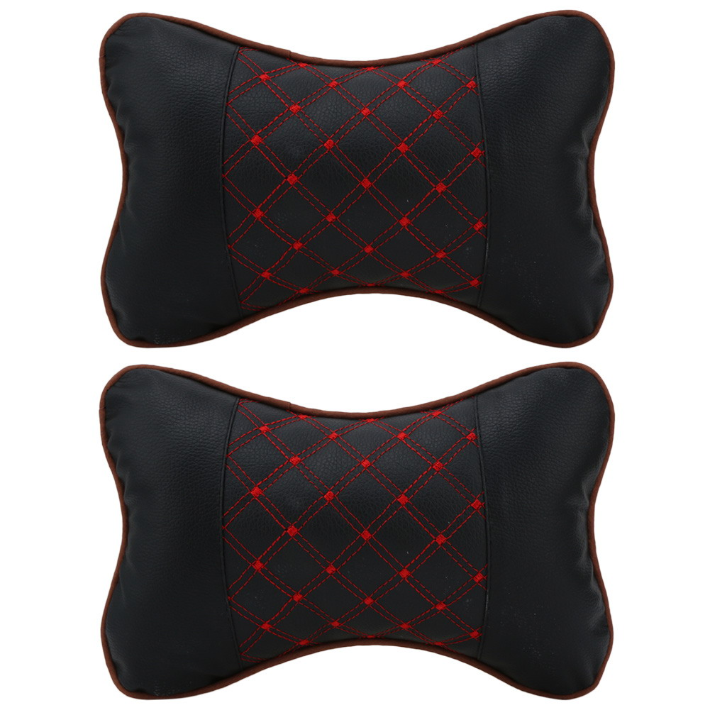 2 Pcs Leather PP Cotton Car Headrest Neck Pillow Auto Seat Cover Head Neck Rest Cushion Headrest Pillow Car Styling Accessaries stylish vehicle car seat head neck rest cushion pillow red black pair