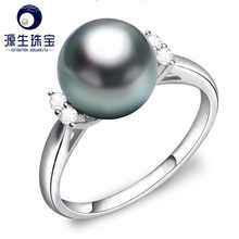 YS  9-10mm Natural Tahitian Cultured Pearl Ring 925 Sterlng Silver Pearl Ring - DISCOUNT ITEM  26% OFF All Category