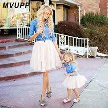 어머니 딸 드레스 카우보이 셔츠 데님 레이스 엄마와 나 복장 매칭 복장 포켓 패밀리 보이 의류 엄마 아기 의류