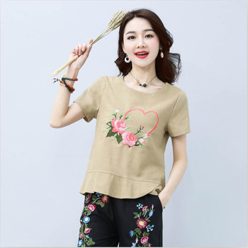 78df921eb5822 2019 Kadın Yaz Pamuk Keten Gömlek Kısa Kollu Nakış Rahat Gevşek Kadın  Üstleri Vestido Artı Boyutu M-2XL
