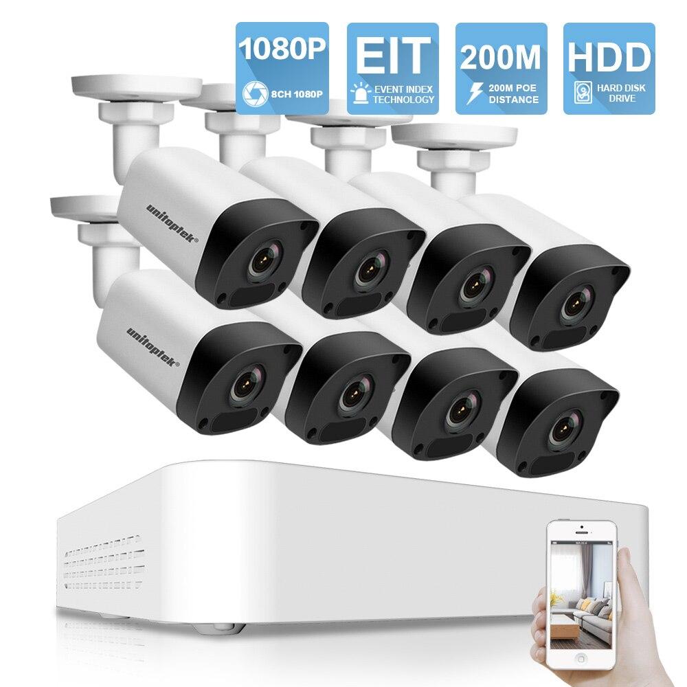 Ultra 265 8CH 1080 P POE NVR комплект видеонаблюдения Системы 8x2 Мп IP Камера Открытый 200 M POE Расстояние видеонаблюдения Системы P2P