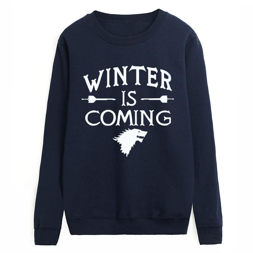Women casual fleece Sweatshirts New Autumn Hoodies 2019 Game of thrones winter coming pullovers Harjuku funny hip hop tracksuits