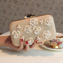 2017 Flower Pearlw Evening bag Paillette bridal banquet day clutch fashion women's handbag Messenger Bag