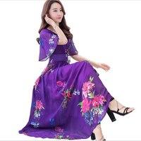 Summer Women Dress 2017 New Rayon Print Retro Chiffon Dress High Quality Short Sleeves V Neck