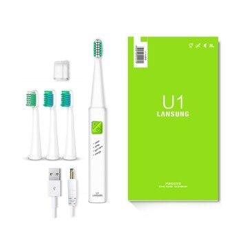 LANSUNG Ultra sonic sonic Elektrische Zahnbürste USB Ladung Wiederaufladbare Zahn Pinsel Mit 4 stücke Ersatz Köpfe Timer Pinsel