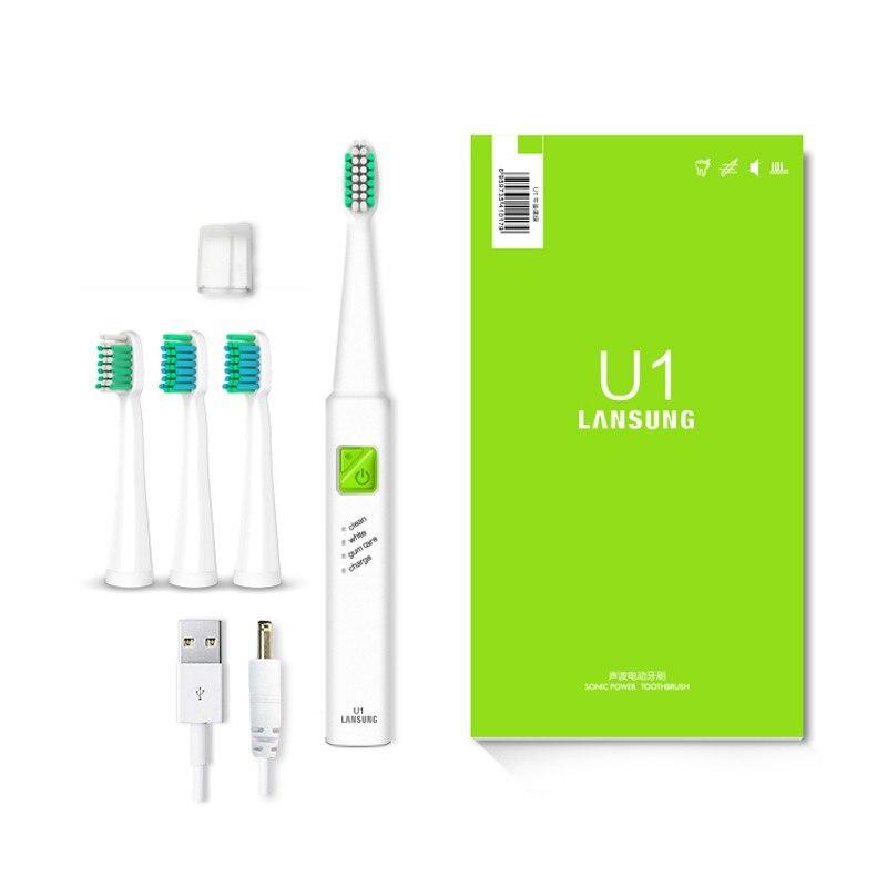 Lansung ultra sonic sonic escova de dentes elétrica carga usb recarregável escovas com 4 pcs substituição cabeças temporizador escova