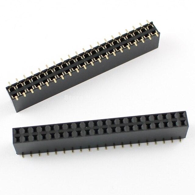 50 Stuks Per Partij Pitch 2.54 Mm 2X20 Pin 40 Pin Vrouwelijke Dubbele Rij Smt Pin Header Strip