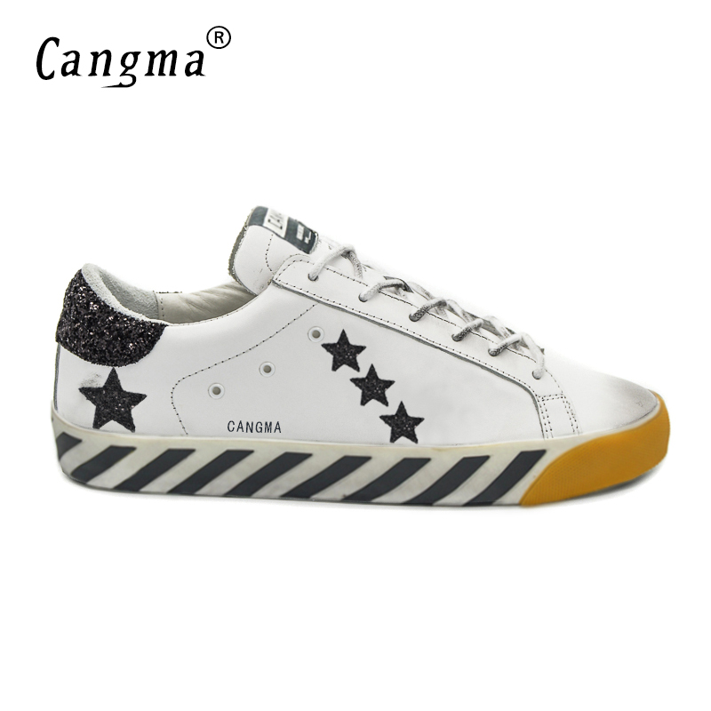 CANGMA Deluxe Brand Delicate Mens Shoes Genuine Leather Superstar Comfort Men Casual White Stella Shoes Sapato Couro Masculino cangma original italy deluxe brand men golden shoes women handmade silver genuine leather goose shoes scarpa stella sapato 2017