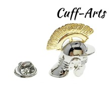 Cuffarts Roman Helmet Lapel Pin Sliver Gold Metal Classic Jewelry Brooch Pins Suit Culture For Women Men P10084