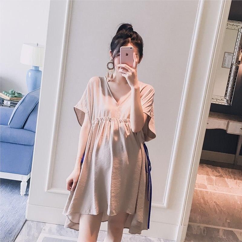 be3a1f580 8619 # Deep V neck Slim cintura suelta maternidad blusas verano coreano moda  camisetas ropa para mujeres embarazadas Tops de embarazo