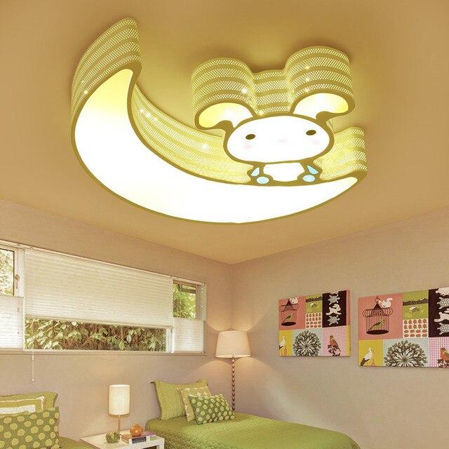 Modern Simple Novelty Cartoon Cute Animal Rabbit Small Led Ceiling Lamp Light Nursery Kids Baby Child