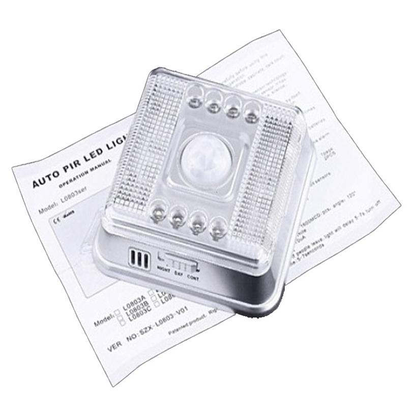 Scolour New Auto PIR 8 LED Light Silver Sensor Sensitivity Motion Detector Lamp for Home lampada led