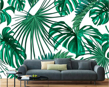 beibehang European fashion stereo acoustic personality wallpaper vintage hand-painted banana leaf decorative background behang