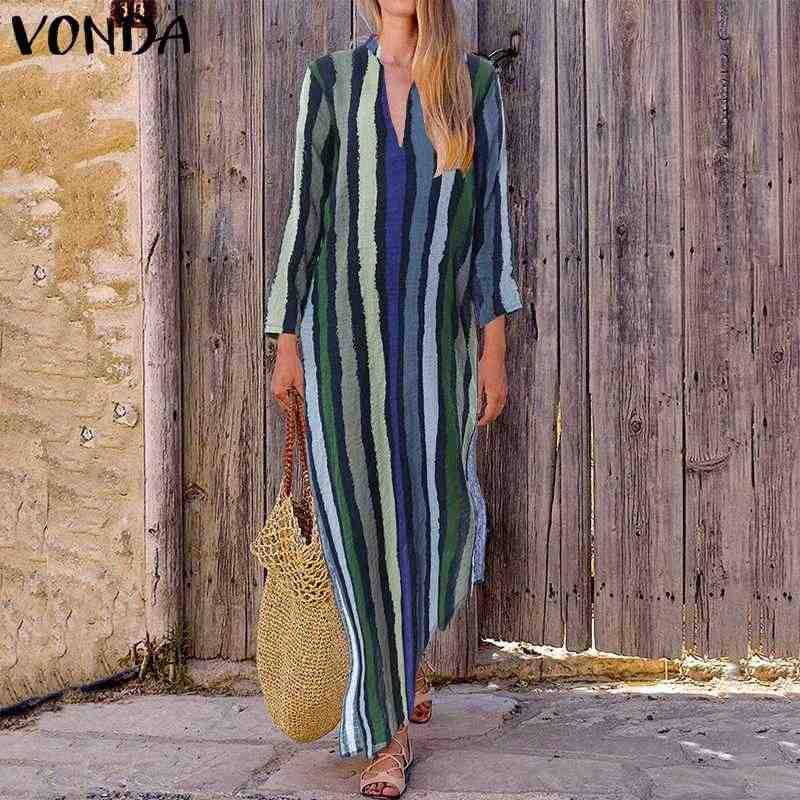 VONDA женское винтажное повседневное Свободное платье с v-образным вырезом в полоску Макси длинное платье 2019 осенние платья с длинными рукавами плюс размер vestidos robe Femme