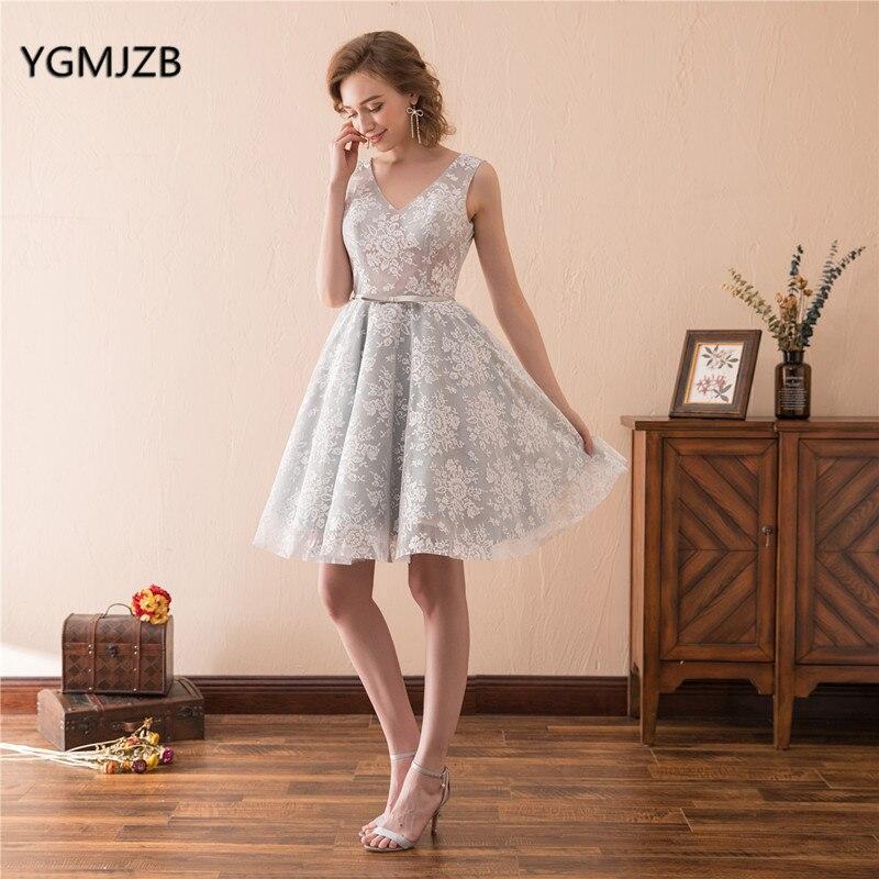 Robe de Cocktail élégante dentelle col en V longueur au genou dos nu 8th Grade argent robe de bal courte robes de soirée formelles robe de retour