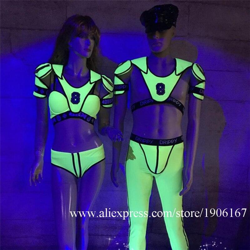 Fluorescent green costumes fluorescent male gogo fluorescent party team headdress fluorescent tweezers2