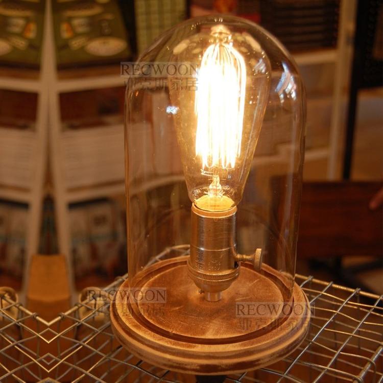 ФОТО Nordic Vintage Glass RH LOFT Light E27 Edison bulb camphorwood E27 Base Table Lamp Desk Llight AC110V-240V Cafe Bar Coffee Shop