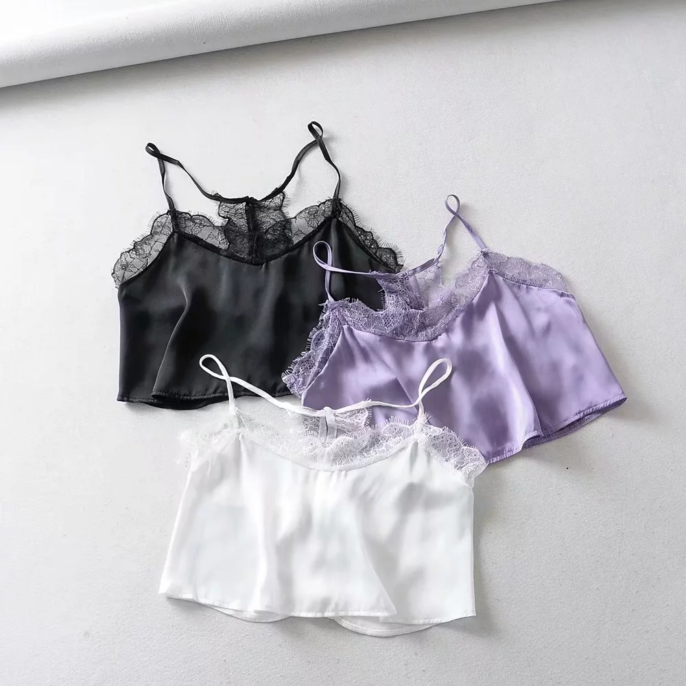 satin lace splice camis top women Sexy v leher crop tops 2019 Summer beach female Vest Condole belt belt