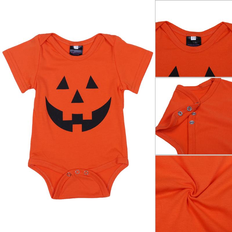 Baby Girls Boys Halloween Outfits Garment Baby Kids Pumpkin Printed Bodysuit Jumpsuit Playsuit Newborn Infant Leisure Clothing