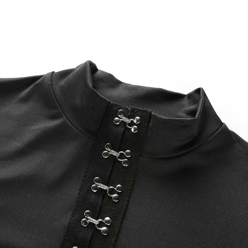 Weekeep mujeres Sexy negro de manga larga delgados Bodysuits 2017 invierno Metal Multi-fila mono con hebillas Skinny Rompers Combinaison